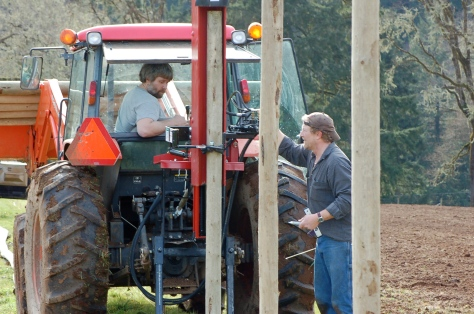 George (in the tractor) keeps cows in our bottom land and helps Bob with fencing and other farm maintenance.