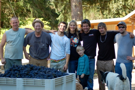 Our first harvest crew; Nick, Bob, Tylor, Me, Nathan, Mike, the other Nathan, Liam and, of course, Uma.