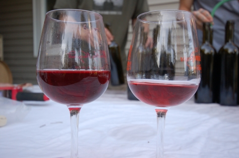 "We made our Rose' with our own Pinot Noir grapes and limited the skin contact to limit the color.  However, we found the result too pale (right) and so we blended in some 2013 Pinot Noir (left) to boost the color and add a little ""earthiness"" to the wine."