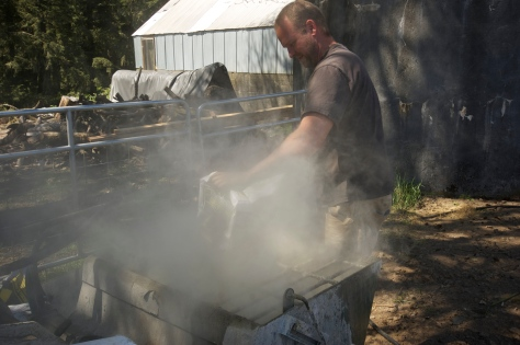Nick got things started by mixing up a batch of concrete in a mixer attached to the Bobcat,