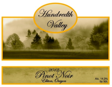 Our Hundredth Valley wine label, made from the first photograph in this post of the yet-to-be-planted vineyard.