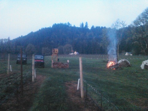 A picture of the first bonfire of the season in the vineyard, taken by Bob with his cell phone.