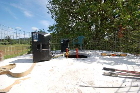 The completed Observation Deck/Sound Tower.  The speakers are powerful enough to fill the entire vineyard with music.